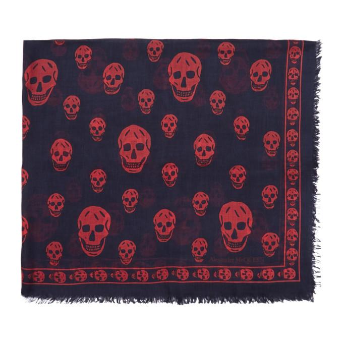 Alexander McQueen Foulard bleu marine et rouge Skull