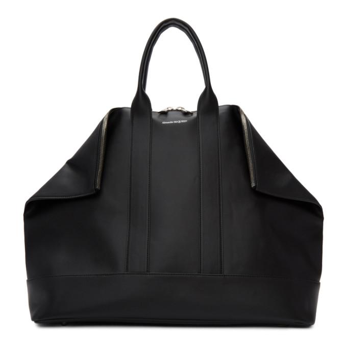 ALEXANDER MCQUEEN | Alexander McQueen Black East West De Manta Shopper Duffle Bag | Goxip