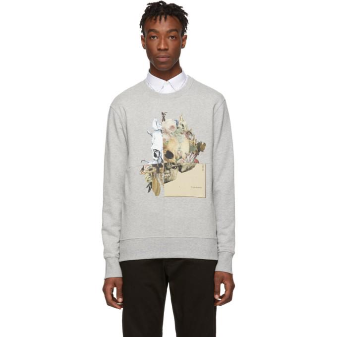 ALEXANDER MCQUEEN | Alexander McQueen Grey Patchwork Skull Sweatshirt | Goxip