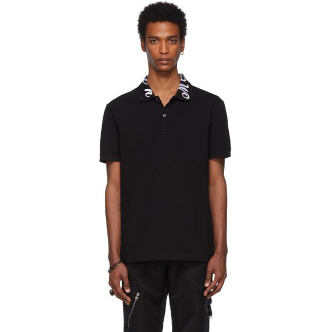 ALEXANDER MCQUEEN   Alexander McQueen Black Embroidered Logo Polo   Goxip