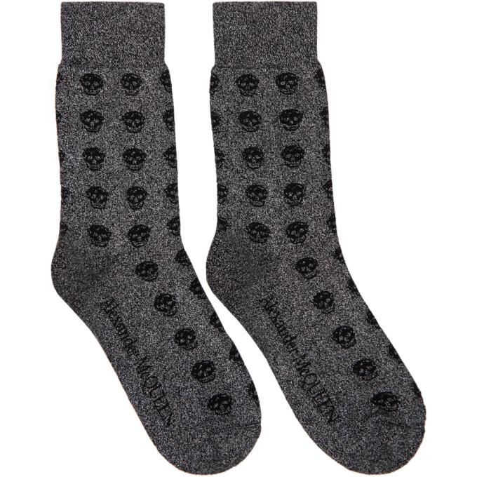 ALEXANDER MCQUEEN | Alexander McQueen Grey And Black Glittered Short Skull Socks | Goxip