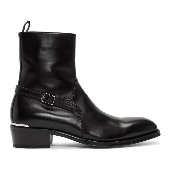 Alexander McQueen Black Leather Zip Up Boots