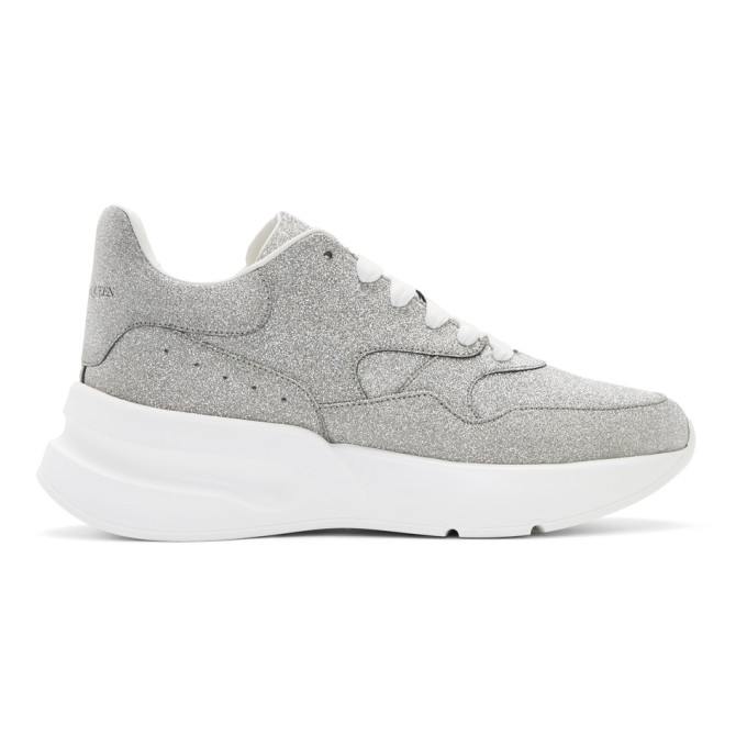 Alexander McQueen Silver and White Tiny Dancer Oversized Runner Sneakers