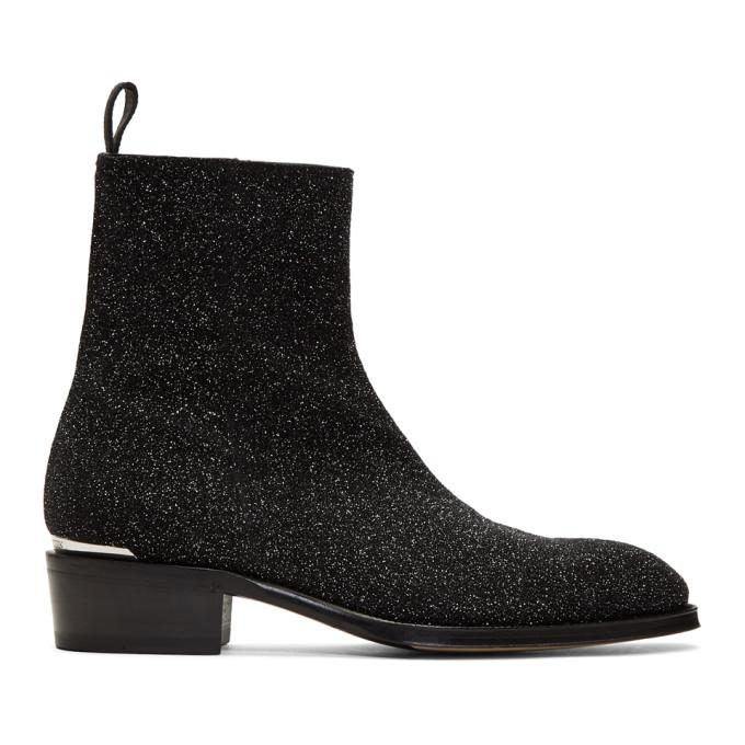 Alexander McQueen Black Glitter Zip-Up Boots