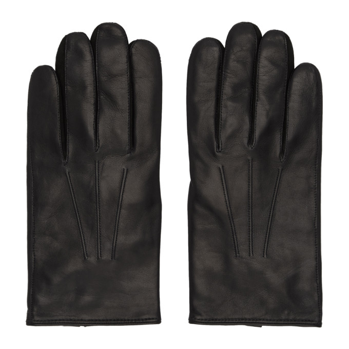 Paul Smith Gants en cuir noirs Plain