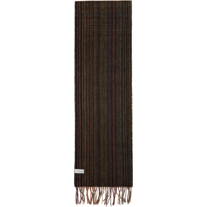 Paul Smith Foulard en laine noir Mixed Signature Stripe and Check