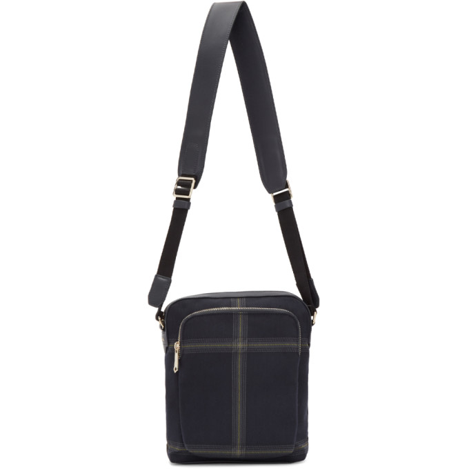 PAUL SMITH | Paul Smith Navy Check Crossbody Bag | Goxip