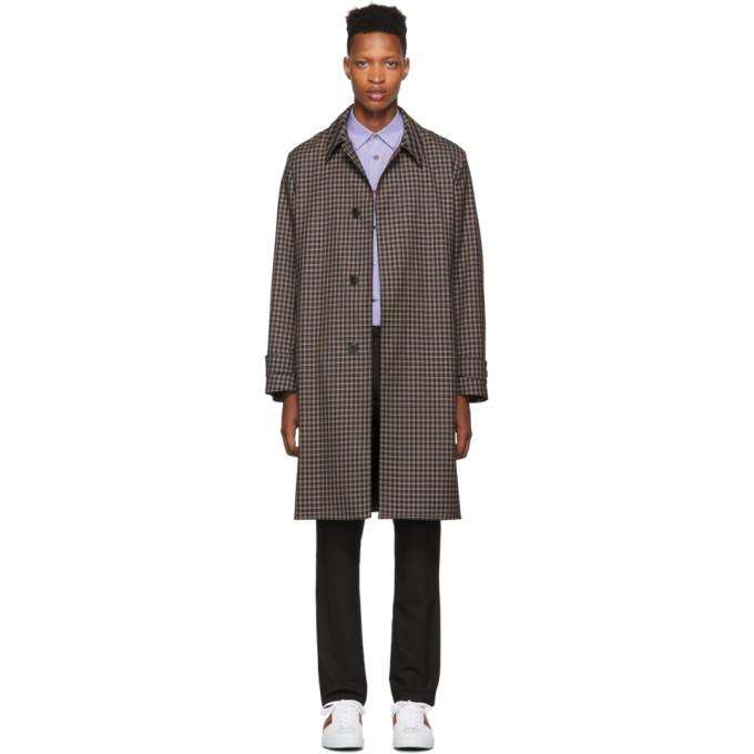 PAUL SMITH | Paul Smith Navy And Brown Contrast Plaid Coat | Goxip