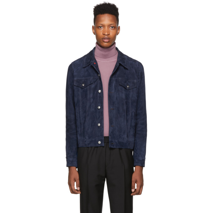 PAUL SMITH | Paul Smith Indigo Suede Trucker Jacket | Goxip