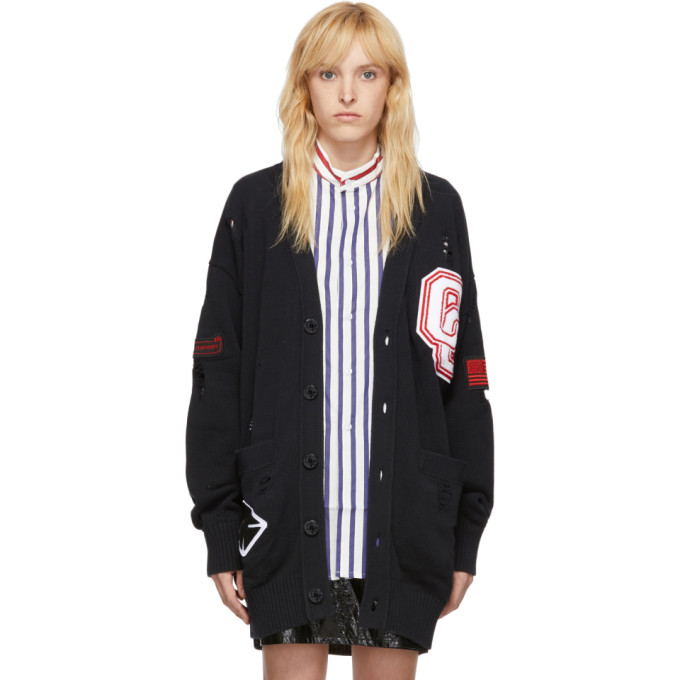 Opening Ceremony 0 OPENING CEREMONY SSENSE EXCLUSIVE BLACK LONG VARSITY CARDIGAN