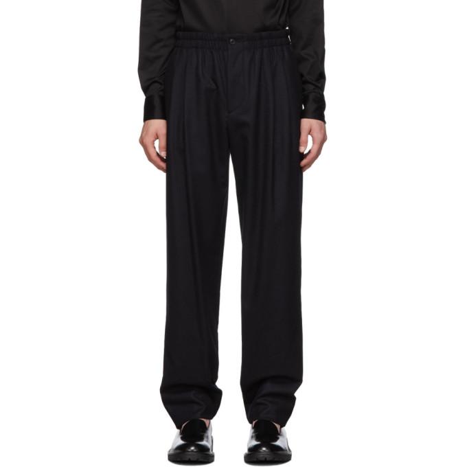 Giorgio Armani Navy Pleated Trousers