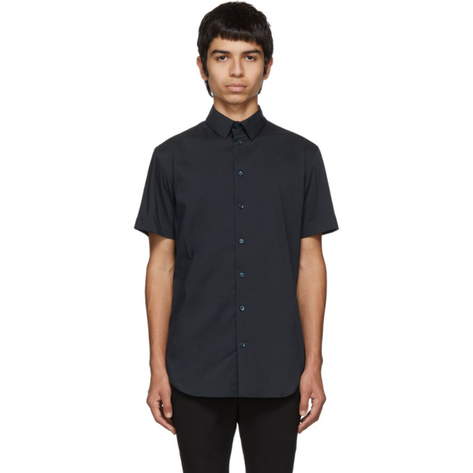 Giorgio Armani Blue Slim-Fit Plain Shirt