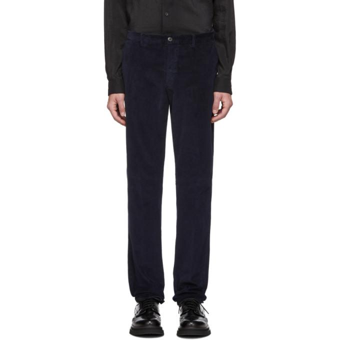 Z Zegna Navy Corduroy Long Sport Trousers