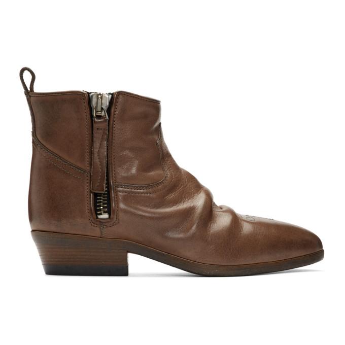 Buy Golden Goose Brown Leather Vian Boots online