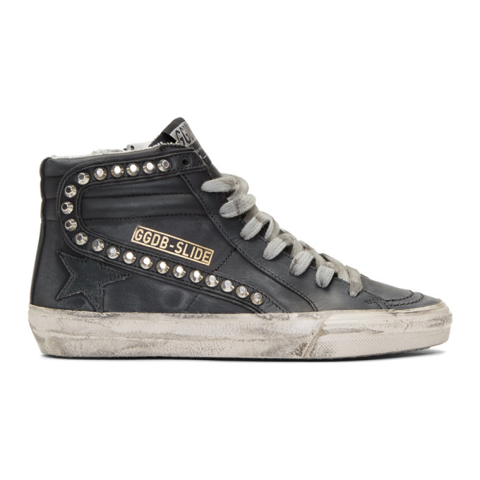 Golden Goose Black Studded Slide Sneakers