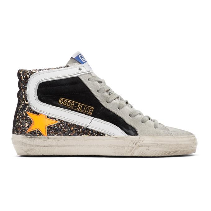 Golden Goose Black and Orange Glitter Slide Sneakers