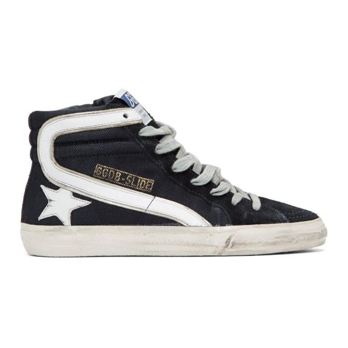 Golden Goose Navy Slide High-Top Sneakers