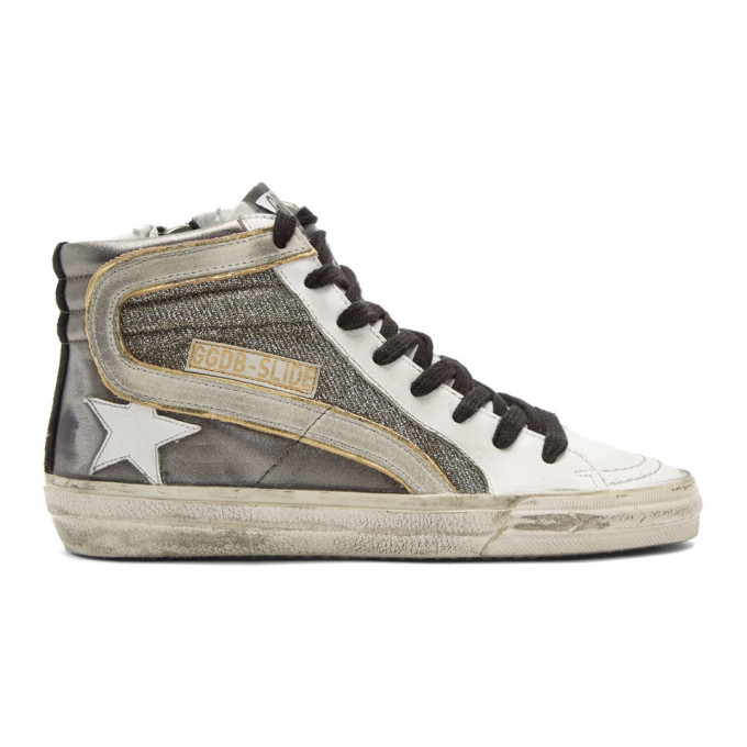 Golden Goose Gunmetal Shimmer Slide High-Top Sneakers