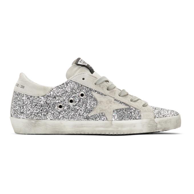 Golden Goose Silver Glitter Superstar Sneakers