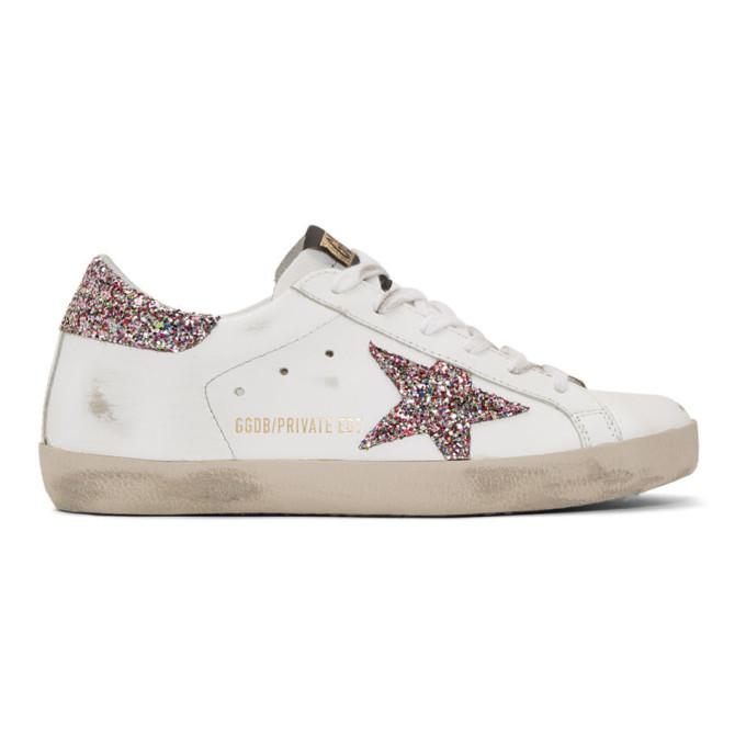 Golden Goose White Glitter Superstar Sneakers