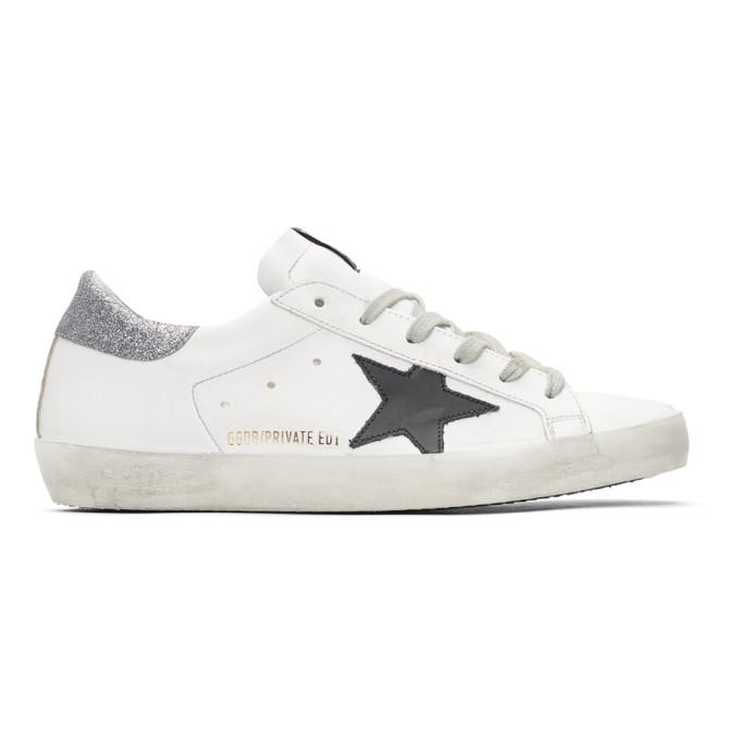 Golden Goose White Glitter Tab Superstar Sneakers