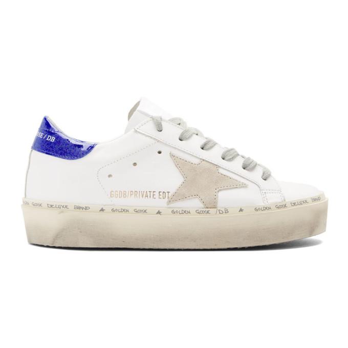 Golden Goose White Glitter Tab Hi Star Sneakers