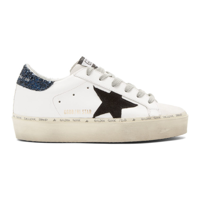 Golden Goose White Glitter Tab Hi Star Sneaker