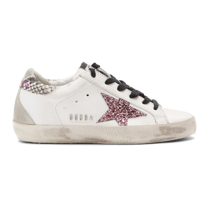 Golden Goose White Glitter Star Snakeskin Superstar Sneakers