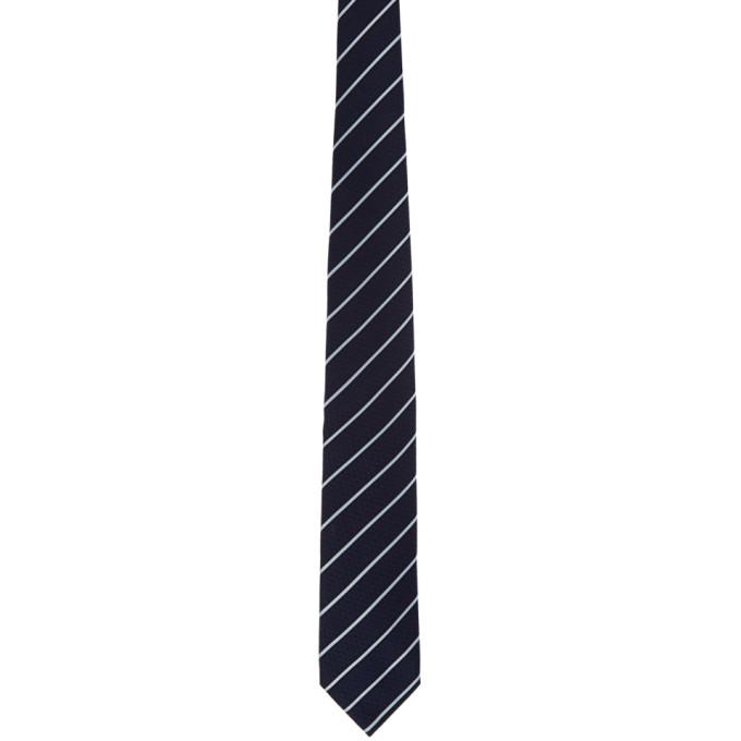 Ermenegildo Zegna Cravate rayee bleu marine Stripe