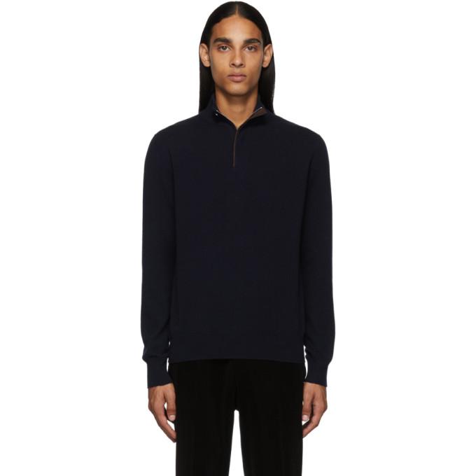 Ermenegildo Zegna Navy Cashmere Half-Zip Sweater