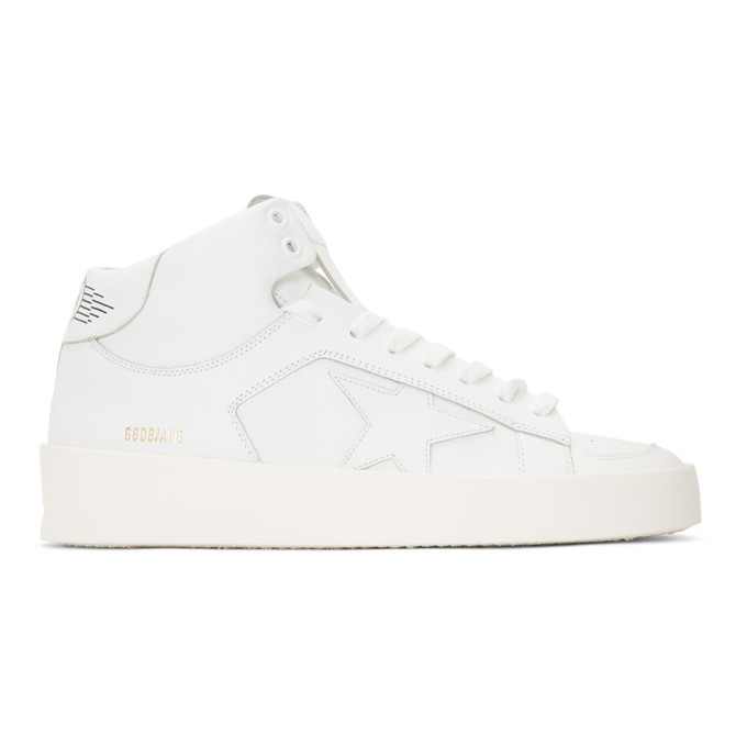 Golden Goose White Stardan Mid-Top Sneakers