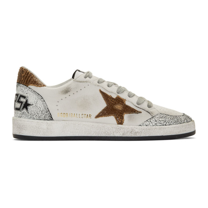 Golden Goose White and Brown Snake Ball Star Sneakers