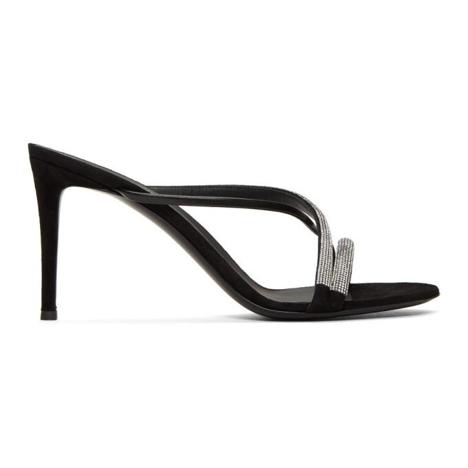 Giuseppe Zanotti Black Croisette Crystal Sandals