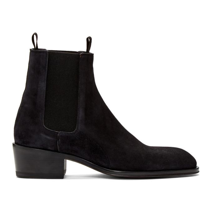 Giuseppe Zanotti Black Suede Atlanta Chelsea Boots