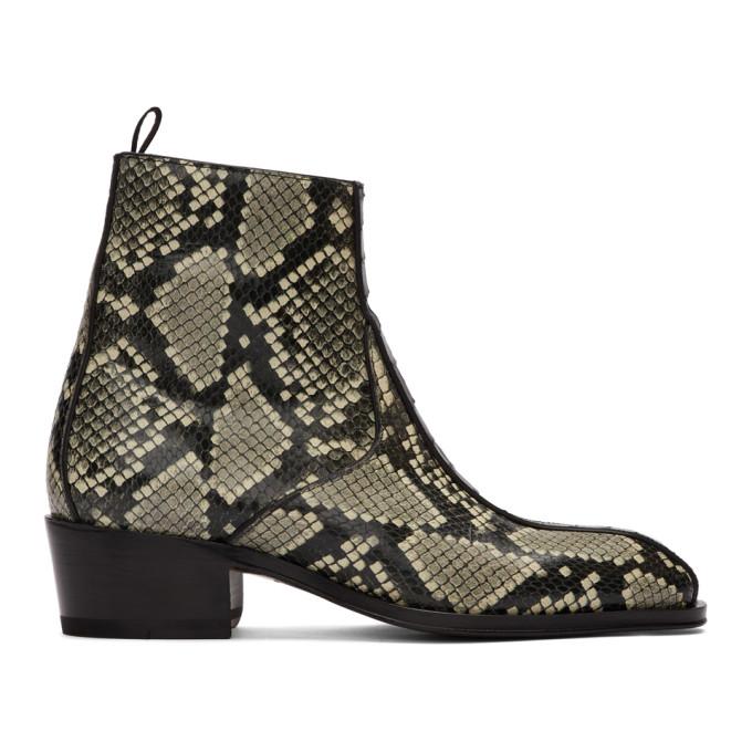Giuseppe Zanotti Black and Grey Snake Zip-Up Boots