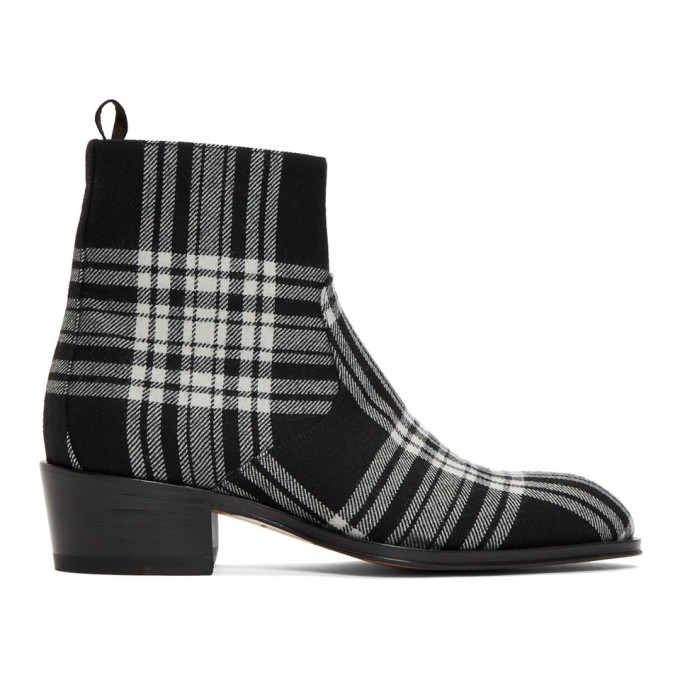 Giuseppe Zanotti Black and White Plaid Zip-Up Boots