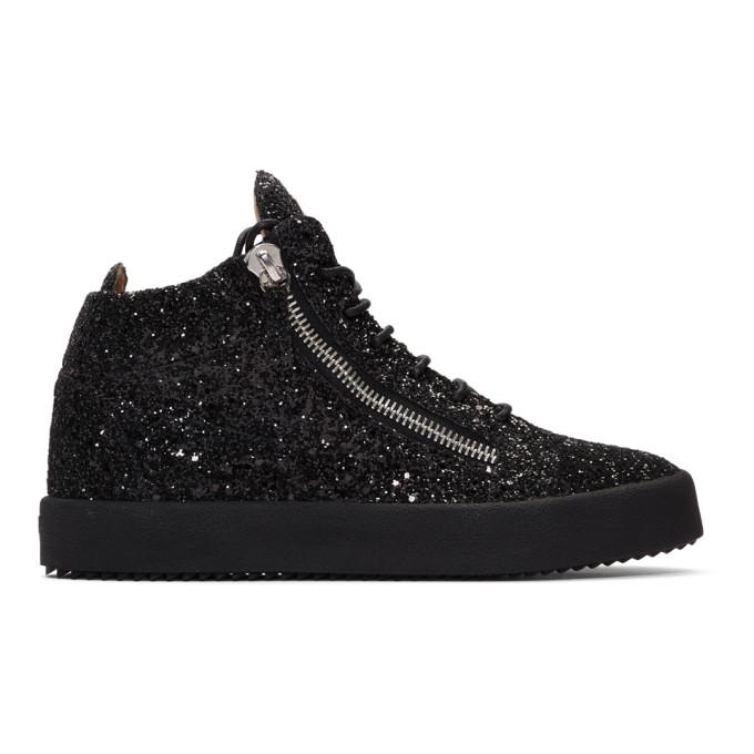 325d2ff4e1b50 Giuseppe Zanotti Black Glitter Kriss High-Top Sneakers In Glitnr+Nr+N ...