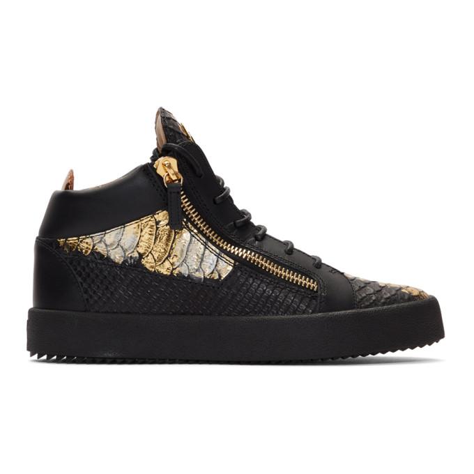 9b8c9cf34b9e Giuseppe Zanotti Black and Gold Croc Kriss High Top Sneakers 192266M23600913