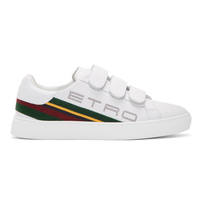 Etro Sneakers ETRO WHITE STRIPE LOGO TRAINER SNEAKERS