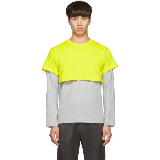 Comme des Garcons Shirt Yellow and Grey 2-Tone Long Sleeve T-Shirt