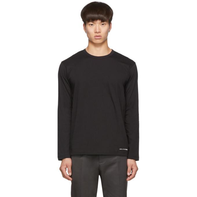 Comme des Garcons Shirt Black Logo Hem Long Sleeve T-Shirt