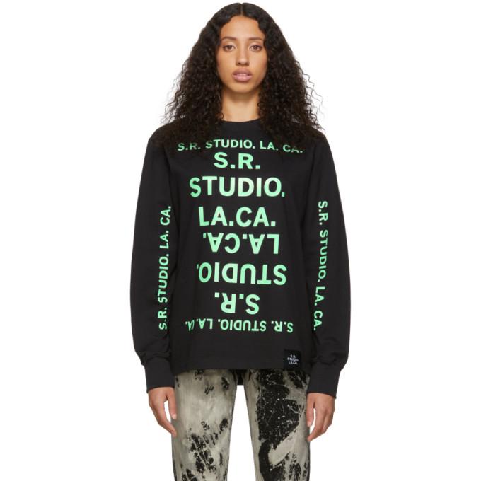 S.R. STUDIO. LA. CA. T-shirt a manches longues noir et vert S.R.S. Double Logo Basic Unlimited