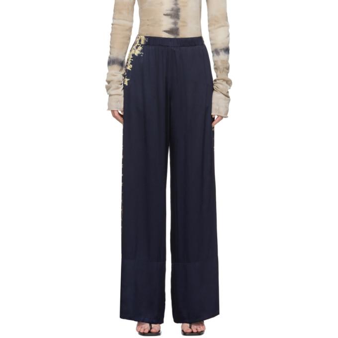 Raquel Allegra Pantalon de survetement ample a motif tie-dye bleu marine Hem
