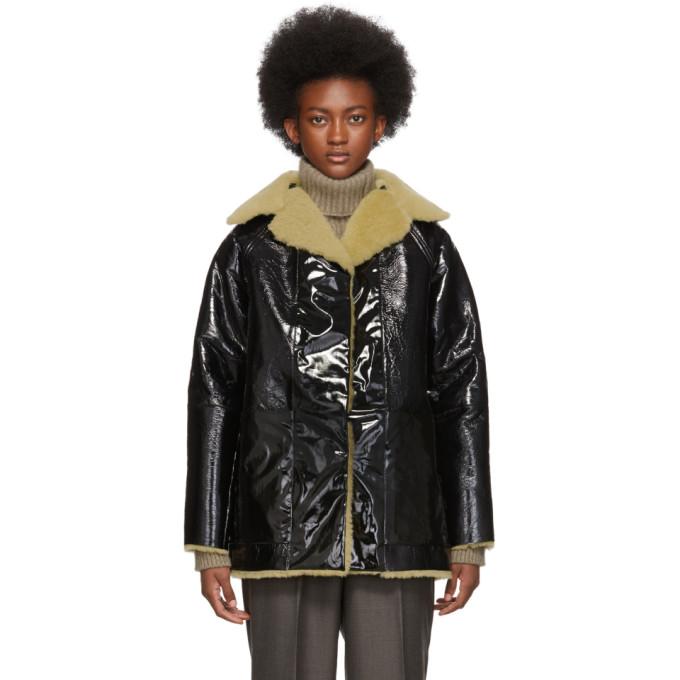 Kassl Editions Manteau reversible en cuir de mouton laque noir