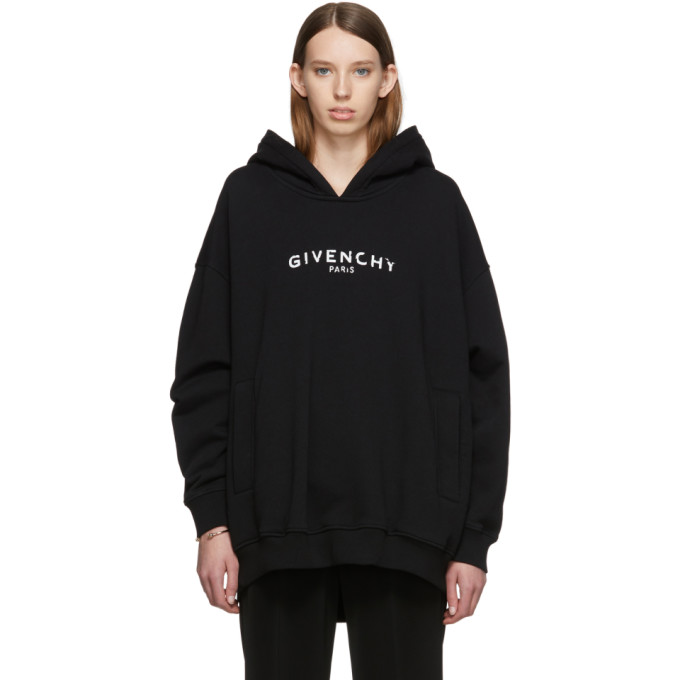 GIVENCHY | Givenchy Black Oversized Givenchy Paris Vintage Hoodie | Goxip