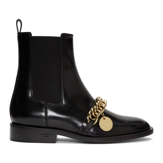 Givenchy Black Chain Charm Chelsea Boots