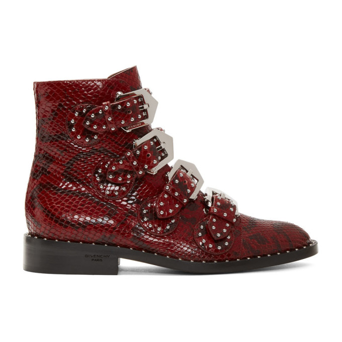 Givenchy Red Python Multi-Strap Boots