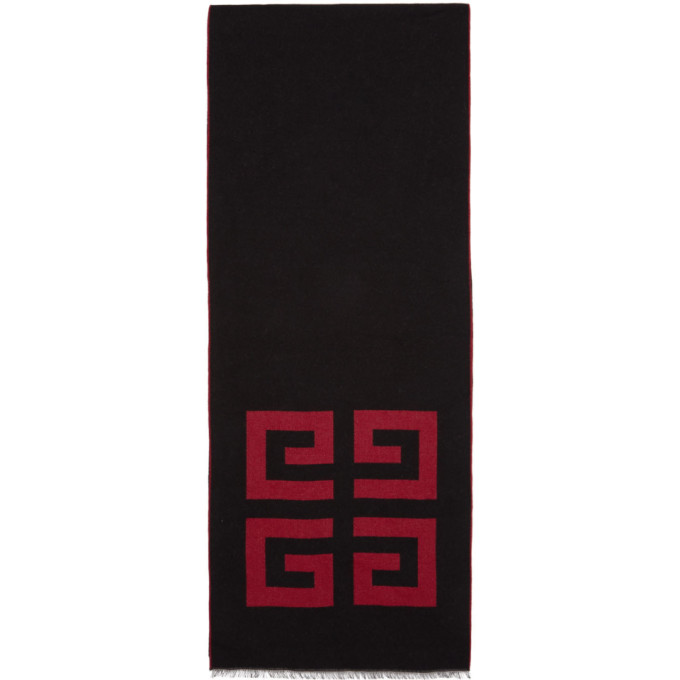 Givenchy Black and Red 4G Woven Scarf