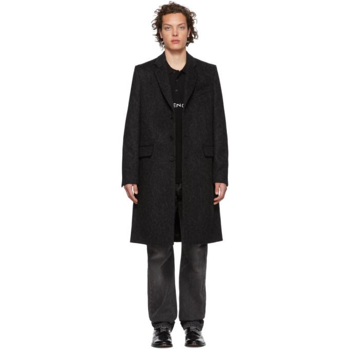 Givenchy ブラック and グレー レオパード ウール 3BT トレンチ コート