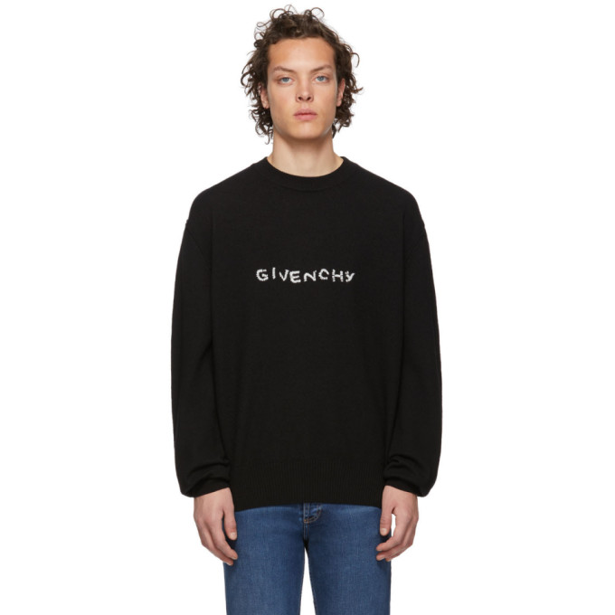 GIVENCHY   Givenchy Black Stitch Logo Sweater   Goxip
